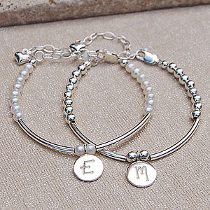 Personalised Girls Silver And Pearl Bracelet