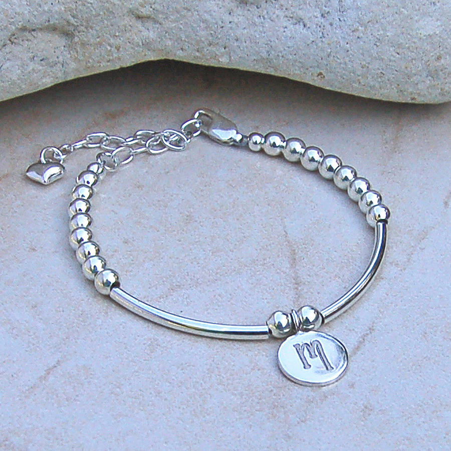personalised girls silver and pearl bracelet by indivijewels ...