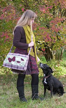 Tweed Butterfly Messenger Bag