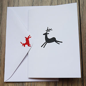 Pack Of Five Reindeer Stamp Cards - christmas card packs