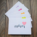 Pack Of Five 'Merci' Cards