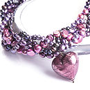 Amethyst Murano Heart And Pearl Necklace