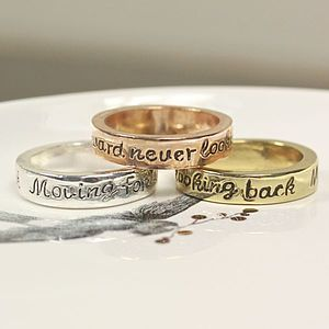 'Moving Forward Never Looking Back' Ring - gifts for her