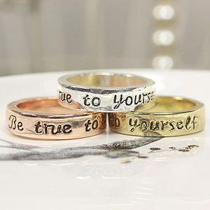 'Be True To Yourself' Message Ring - women's jewellery