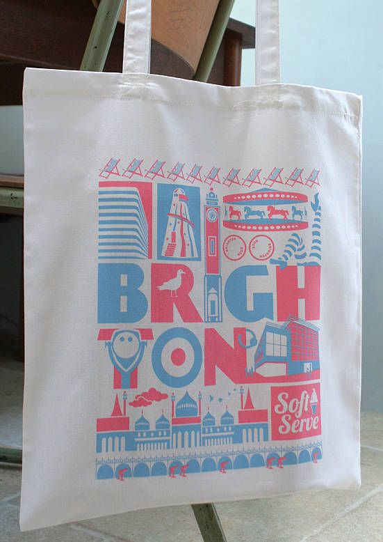 Brighton City Typographic Cotton Tote Bag