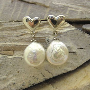 Pearl On Silver Heart Drop Earrings