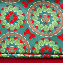 Brussels sprouts pattern red Christmas stocking cuff detail