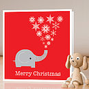 Elephant Christmas card - single card standing - red