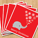 Elephant Christmas card - pack of five fan - red