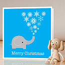 Elephant Christmas card - single card standing - blue