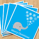Elephant Christmas card - pack of five fan - blue