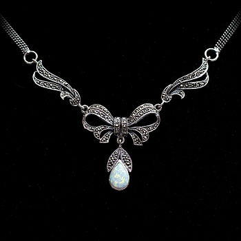 Sterling Silver Marcasite And Opal Necklace