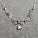Sterling Silver And Marcasite Pearl Necklace
