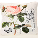 Rose Print Post Card Feather Cushion