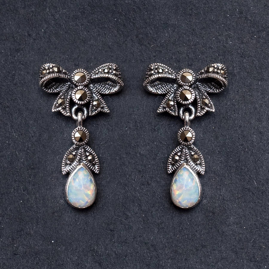 Bloom Boutique Sterling Silver And Opal Marcasite Earrings