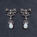 Sterling Silver And Opal Marcasite Earrings