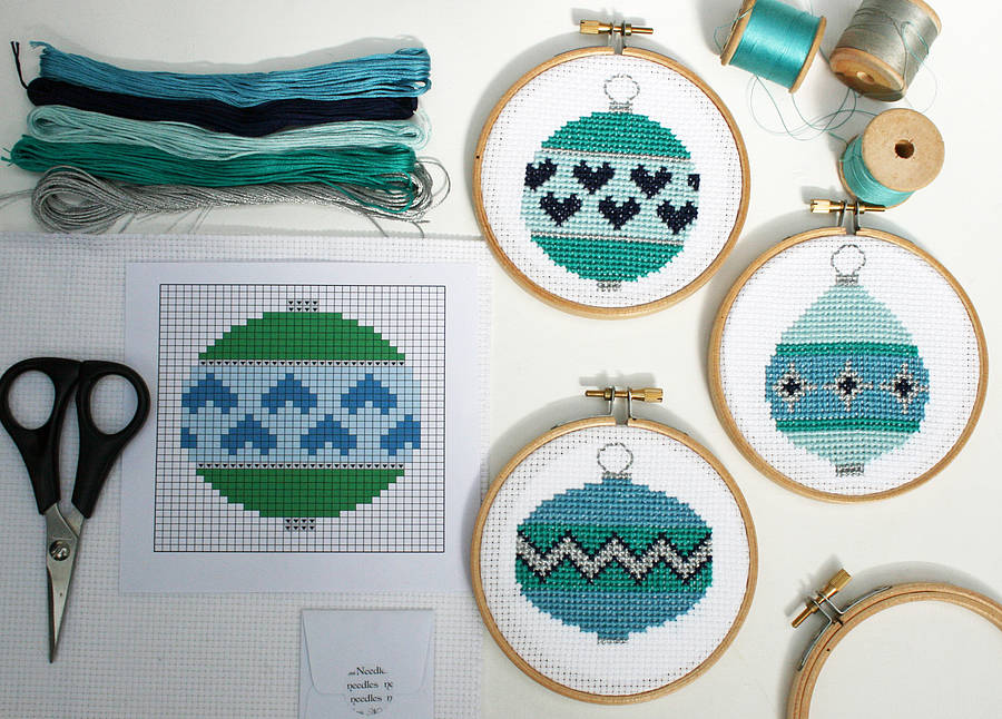 christmas baubles cross stitch kit - Cross Stitch Christmas Decorations