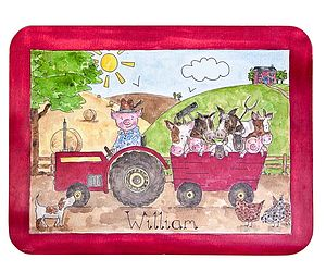 Mr Piggy's Tractor Placemat - children's cooking