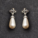 Sterling Silver And Pearl Marcasite Earrings