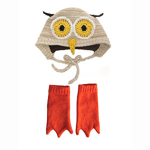 Knitted Owl Hat And Booties Set