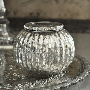 Jewelled Silver Globe Tealight Holder - living room