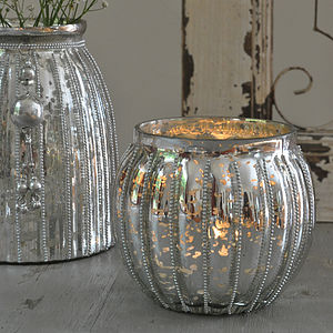 Beaded Silver Cup Glass Votive