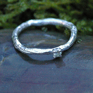 Silver Set Diamond Ring - rings