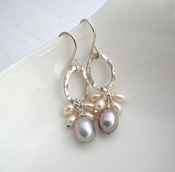 Biscay Pearl Earrings Silver