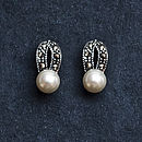 Sterling Silver Marcasite Pearl Earrings