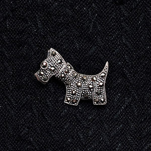 Sterling Silver Marcasite Terrier Dog Brooch - mother's day gifts