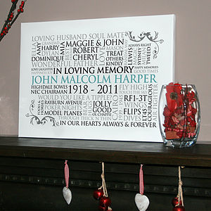 Personalised 'In Loving Memory' Canvas - posters & prints