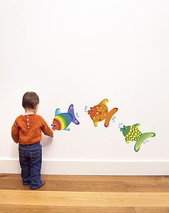 Trio Of Fish Wall Stickers - children's room