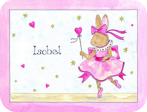 Pink Bunny Ballerina Placemat - children's cooking