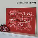 wine red block mounted print