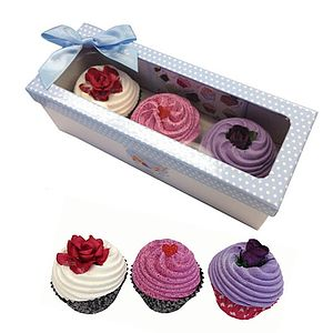 Set Of Three Floral Cupcake Bath Bombs - bath & shower
