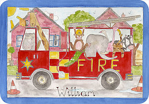 Fire Engine Placemat - children's tableware