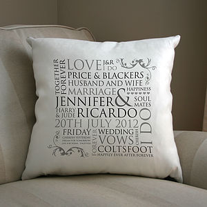 Personalised Wedding Word Design Cushion