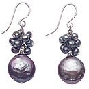 Freshwater Black Pearl Cluster Earrings