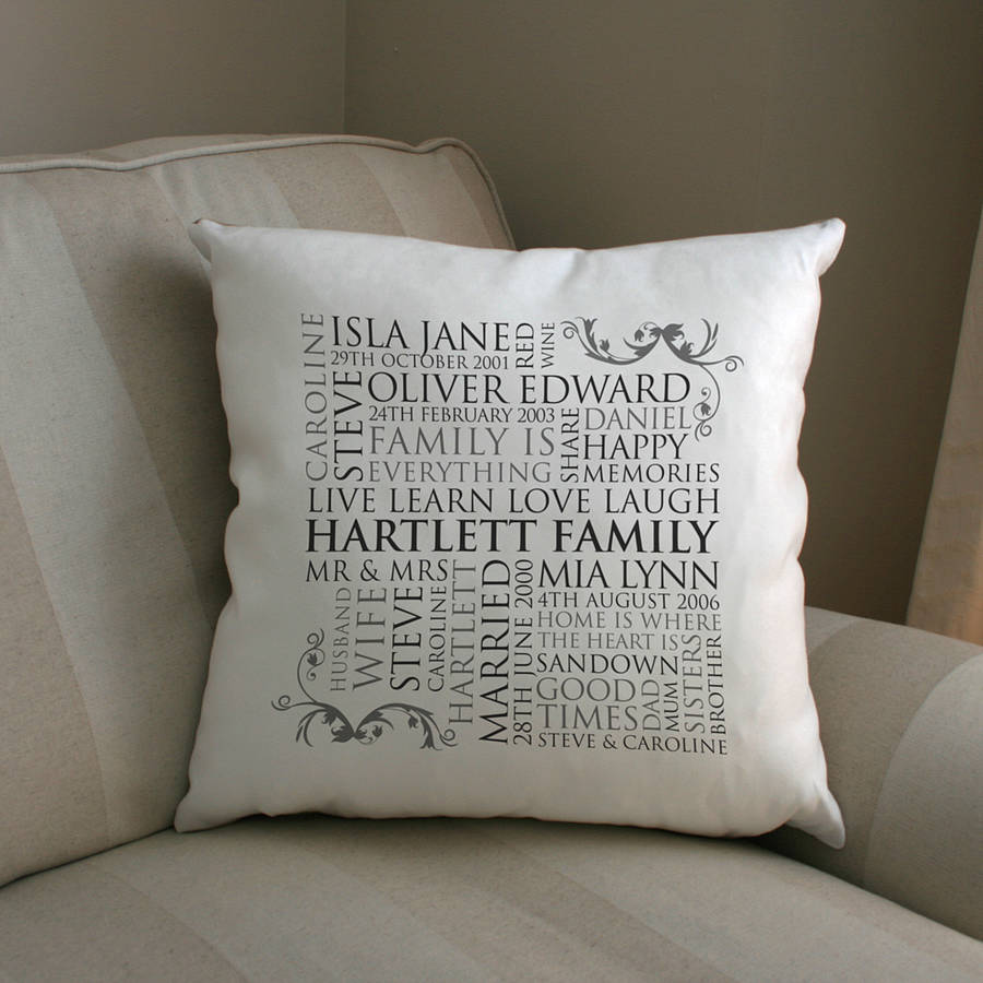 Personalised Family Word Art Cushion By Cherry Pete