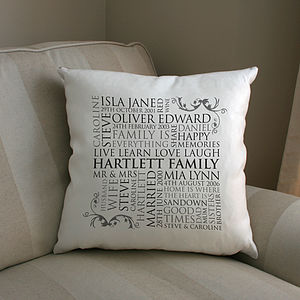 Personalised Family Word Art Cushion - gifts for mothers