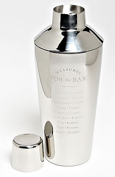 bar measures cocktail shaker by men's society | notonthehighstreet.