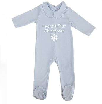 Blue Personalised Baby's First Christmas Pyjamas with White Snowflake and Printing