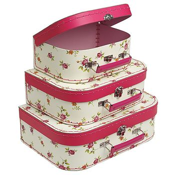 Set Of Three Vintage Rose Mini Suitcases