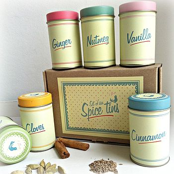 Set Of Six Retro Pantry Style Spice Tins