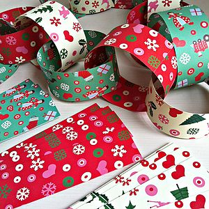 Retro 50's Christmas Paper Chain Kit - garlands, bunting & hanging decorations