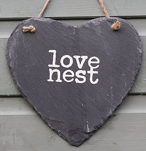 'Love Nest' Slate Heart - outdoor decorations