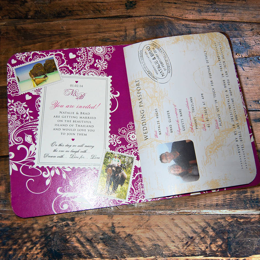 Wedding Invitation Book Style: Passport To Love Booklet Travel Wedding Invitation By