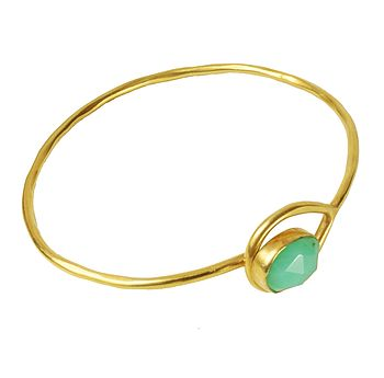 Gold Gem Bangle With Chrysoprase Stone