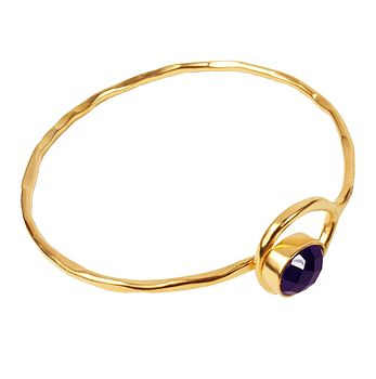 Gold Gem Bangle With Amethyst Stone