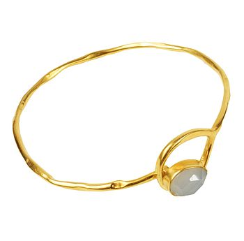 Gold Gem Bangle With Grey Chalcedony Stone